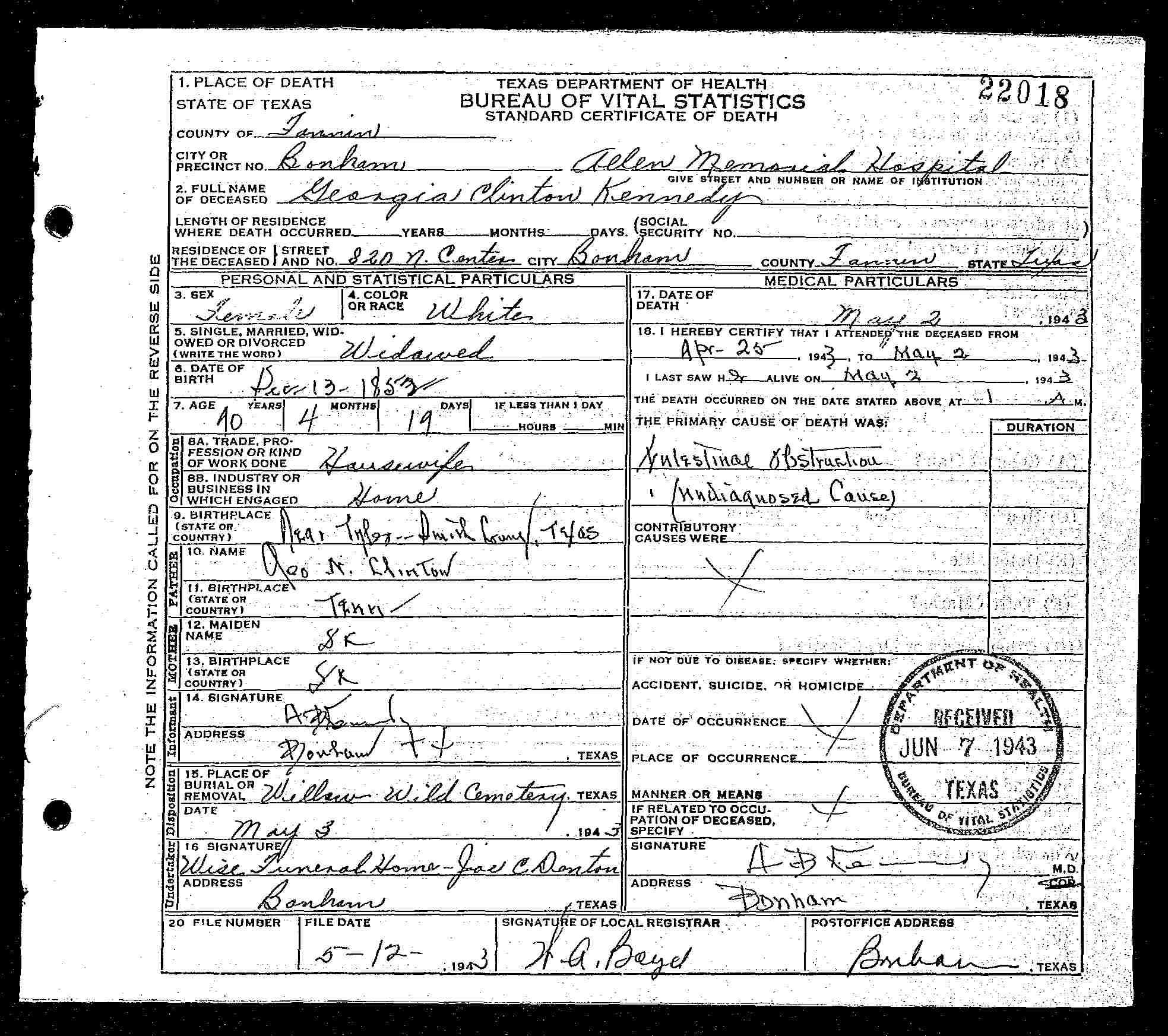Vital Records 1943 Death Certificate Bonham Fannin County Texas