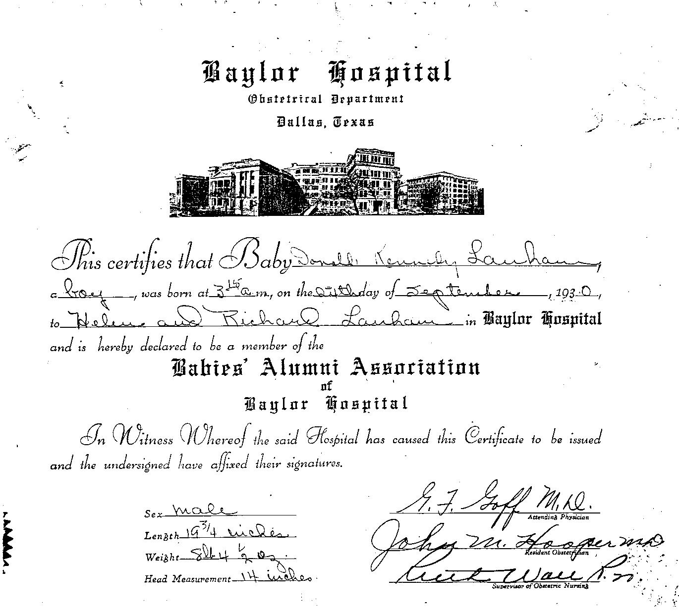 Vital Records 1930 Hospital Birth Certificate Baylor Hospital