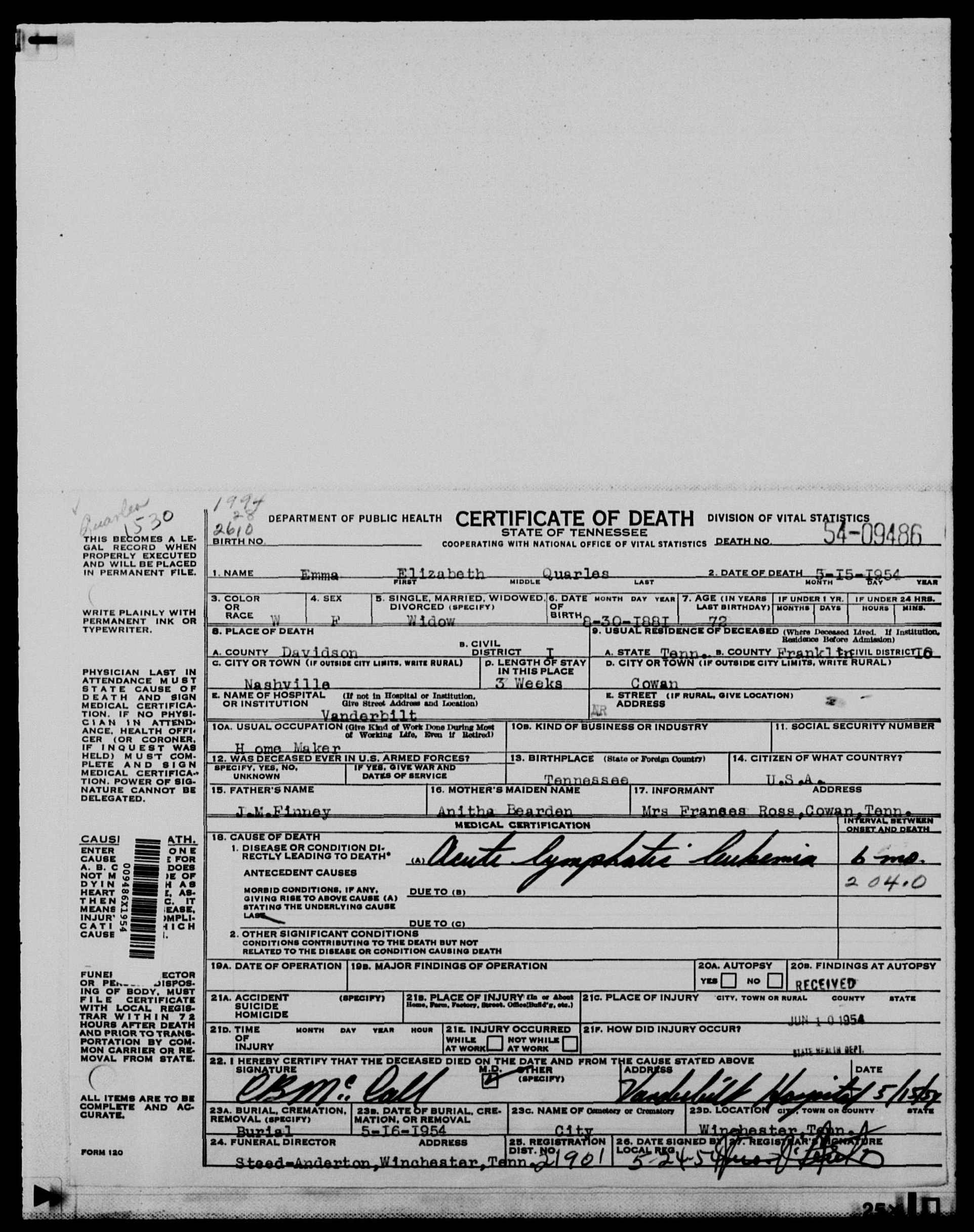 Documents 1954 death certificate nashville davidson county click and drag to move within the image 1954 death certificate xflitez Gallery